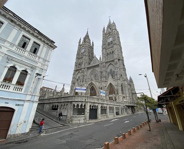 The Basilica of the National Vow at 2,850 meters (9,350 ft) above sea level, Barrio Histórico, Quito, Ecuador.