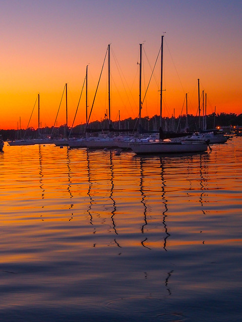 PC - harbor boats in a row at dusk - 23517562361_037756fcb8_o