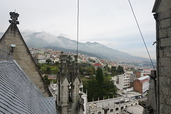 Condor Tower, the Basilica of the National Vow at 2,850 meters (9,350 ft) above sea level, Barrio Histórico, Quito, Ecuador.