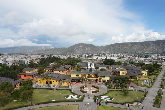 Equatorial Monument (latitude 0º0'8''), Middle of the World City at 2,470 meters (8,103 ft) above sea level, Ecuador.