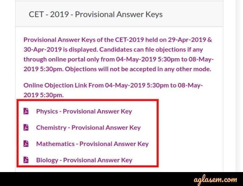 KCET 2020 Provisional Answer Key