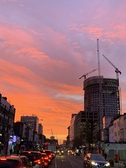 Winter dawn in Westminster North: Red sky in morning, sailor's waring
