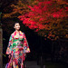 Japanese girl in traditional kimono dress walk in kyoto old temple