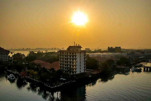 india nikon5300 asia cochin columbus cruise deck kochin outdoor ship tourist worldcruise 201904100846180 sunrise building water reflections