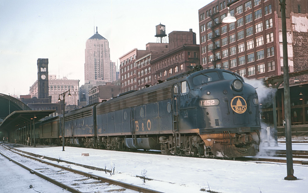 Baltimore & Ohio E8A 1452 and another E8A about to depart with Train 6, the Capitol Limited, from Grand Central Station, Chicago, IL on December 26, 1967 by Marty Bernard