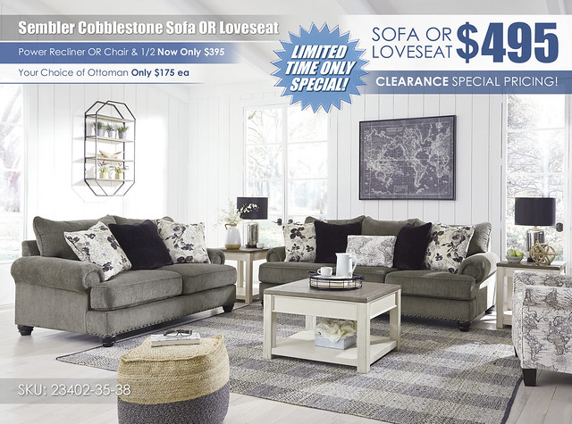 Sembler Cobblestone Sofa OR Loveseat Special_23402-38-35-03-T751