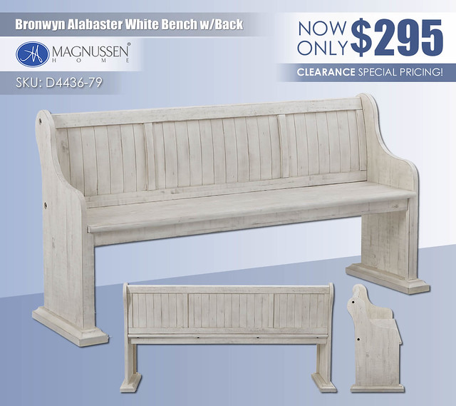 Bronwyn Alabaster White Bench with Back_D4436-79