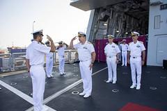 R.Adm. Giovanni Battista Piegaja arriving on board of ITS Marceglia frigate