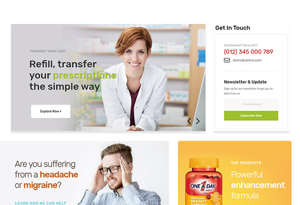 Bos Medicor PrestaShop Pharmacy Template - Eye-catchy Services Display