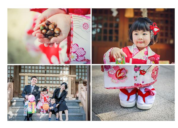 七五三 神社の境内でドングリを拾って 草履 足元 家族の写真