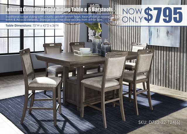Johurst Counter Height Dining Table & 6 Barstools_D762-32-124(6)