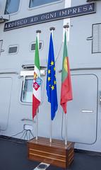 European Union, Italian and Portuguese flags