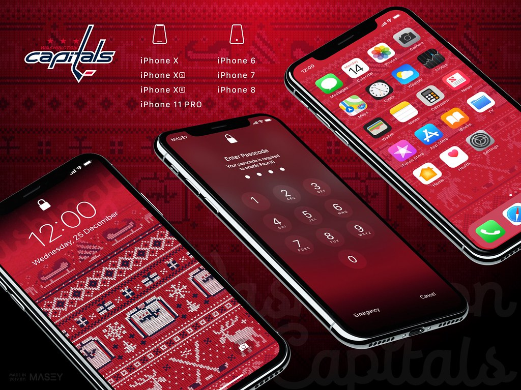 "Washington Capitals Christmas ""Ugly Sweater"" iPhone Wallpaper"