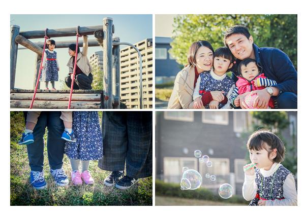 公園で家族写真のロケーション撮影 足元 靴 シャボン玉