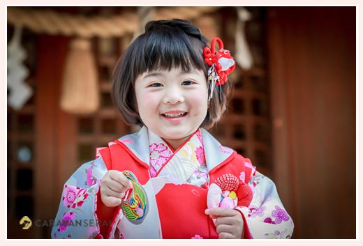 七五三 3歳の女の子 笑顔