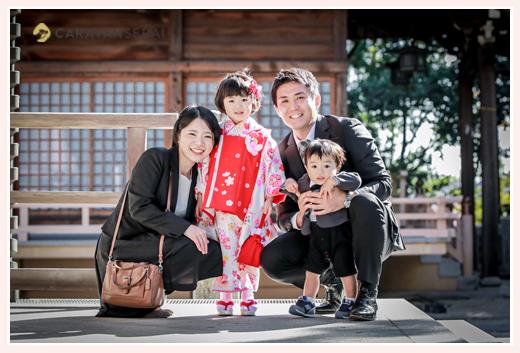 七五三 景行天皇社(愛知県長久手市) 年賀状用の家族写真