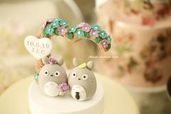 Handmade  TOTORO bride and groom MochiEgg with flowers tree wedding cake topper, custom cartoons wedding cake decoration ideas