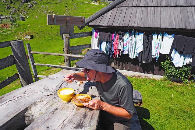 Jack eating buckwheat mush, Velika Planina