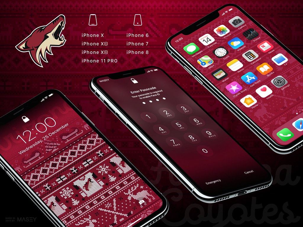 "Arizona Coyotes Christmas ""Ugly Sweater"" iPhone Wallpaper"