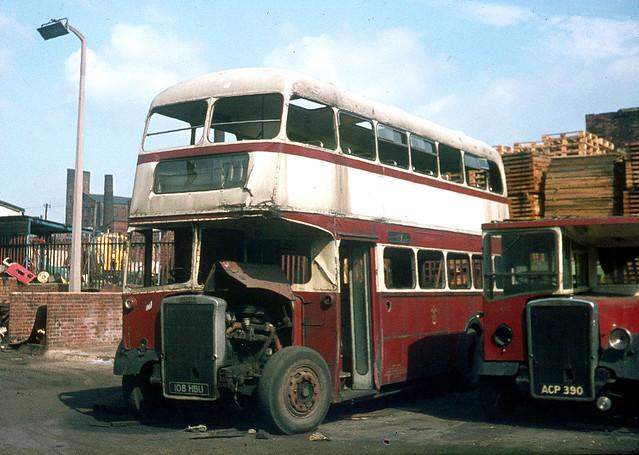 Oldham Corporation. 108 108HBU . Corporation Bus Garage , Oldham , Lancashire . Monday 01st-September-1969 .