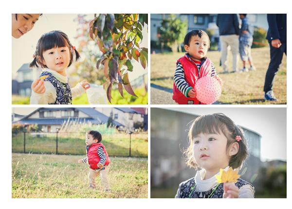 西日の差す冬の公園で遊ぶ子供 兄弟 モミジの葉 ボール