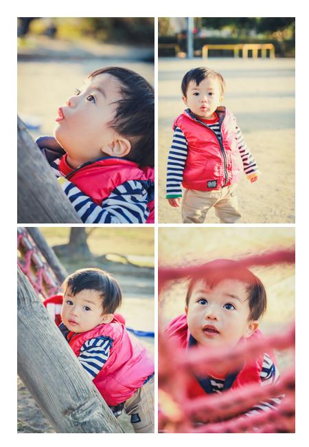 公園で遊ぶ1歳の男の子 冬
