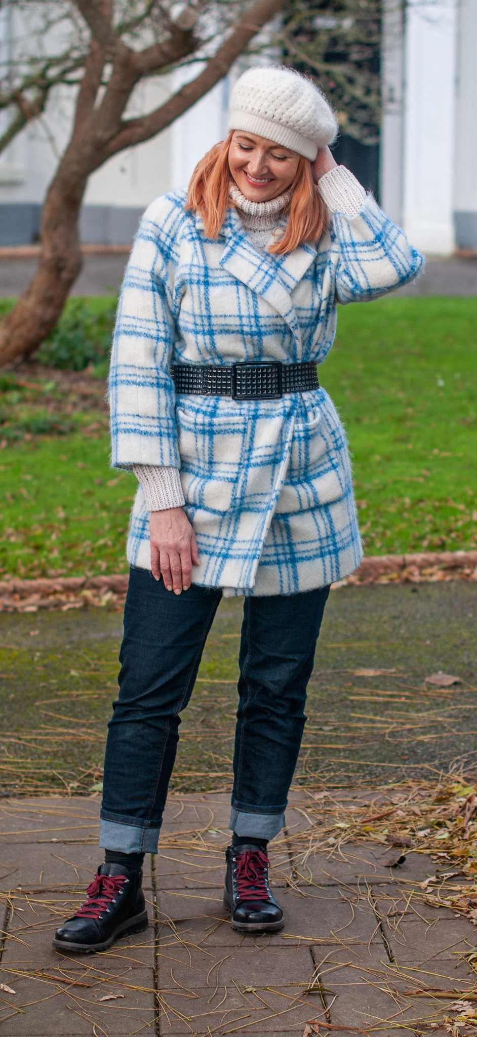An Everyday Outfit: Winter Coat Worn 80s Style (blue check coat, belted) | Not Dressed As Lamb, Over 40 Fashion and Style