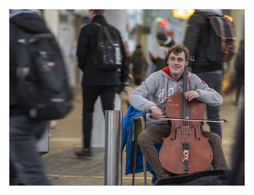 Playing the cello in a crowd