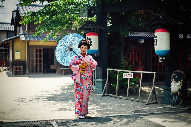 A Japanese girl with traditional costume