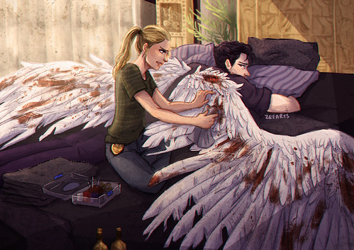 artwork of the wing preening scene, by Zee