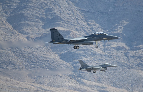 F-15E and F-16 on Parallel Final