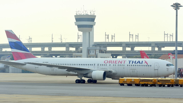 Boeing 767-346 c/n 23961 Orient Thai Airlines registration HS-BKB stored at Don Muang airport
