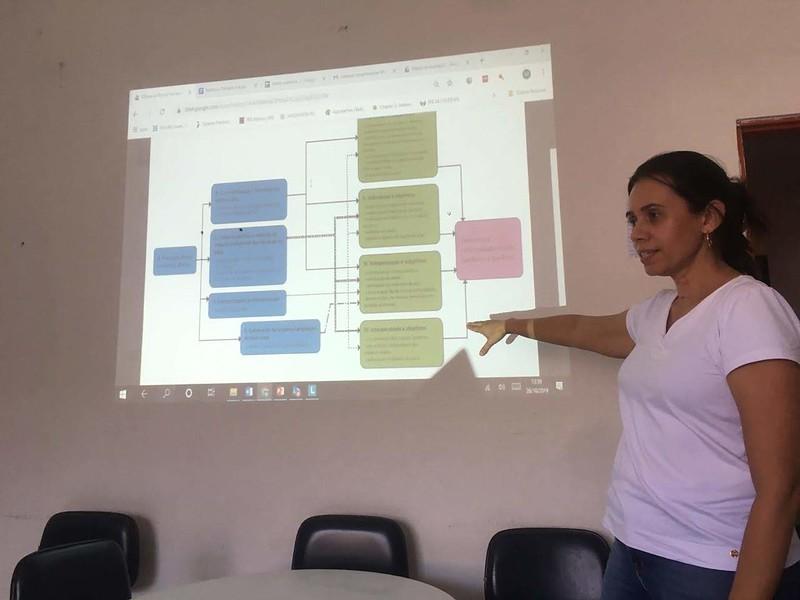 Miriam apresentando Teoria da Mudança durante a oficina de Construção da Matriz Avaliativa, Outubro 2019