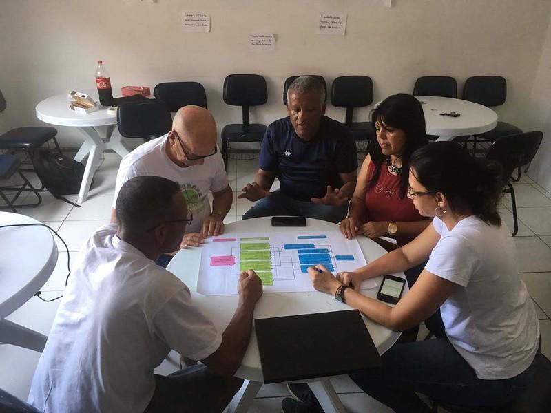 Equipe na oficina de Construção da Matriz Avaliativa, Outubro 2019