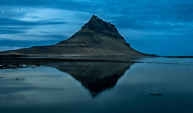 Kirkjufell and reflection at after sunset.