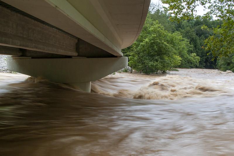 Spring Creek at flood stage detail, under the Waterloo Rd Bridge, Overton Co, TN