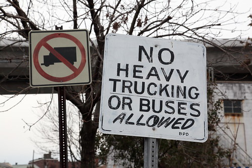No heavy trucking or buses allowed, hand-lettered traffic sign, Bayonne, New Jersey