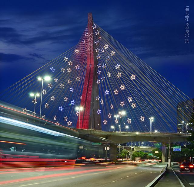 Sao Paulo, Brazil - Christmas lights decor on iconic Octavio Frias de Oliveira Cable-Stayed Bridge