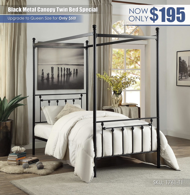 Black Metal Canopy Twin Bed Special_1761-T1