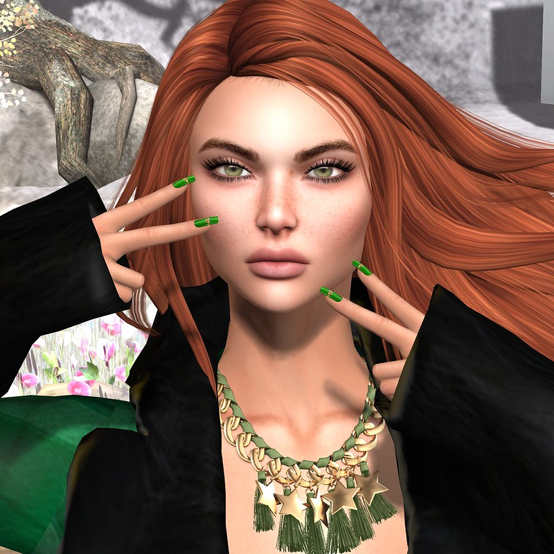 SL Christmas Expo - Classy n Sassy(Winter Coat and Boots, Christmas Bow Nails, Christmas Earmuffs) - Loordes of London(Shine As Illuminators Necklace) - CKit Falconry(Wolves) / 7 Deadly s{K}ins - Elvira Freckled (Store Advent Calendar)