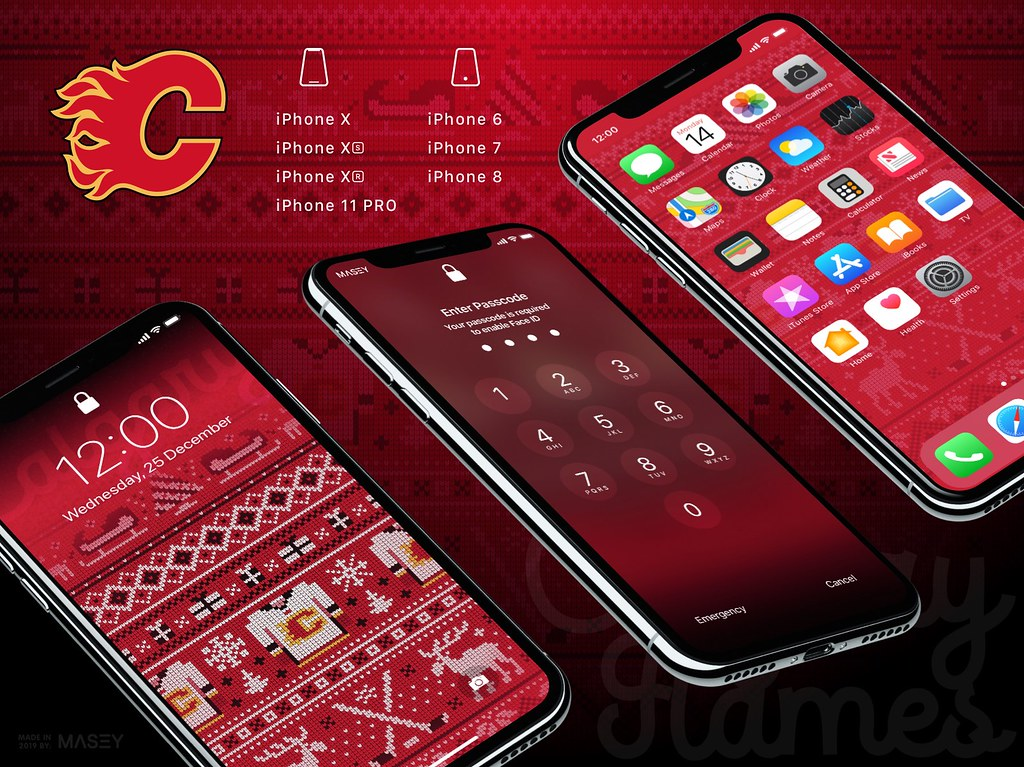 "Calgary Flames Christmas ""Ugly Sweater"" iPhone Wallpaper"