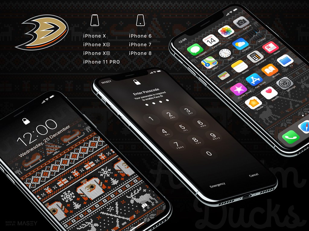 "Anaheim Ducks Christmas ""Ugly Sweater"" iPhone Wallpaper"