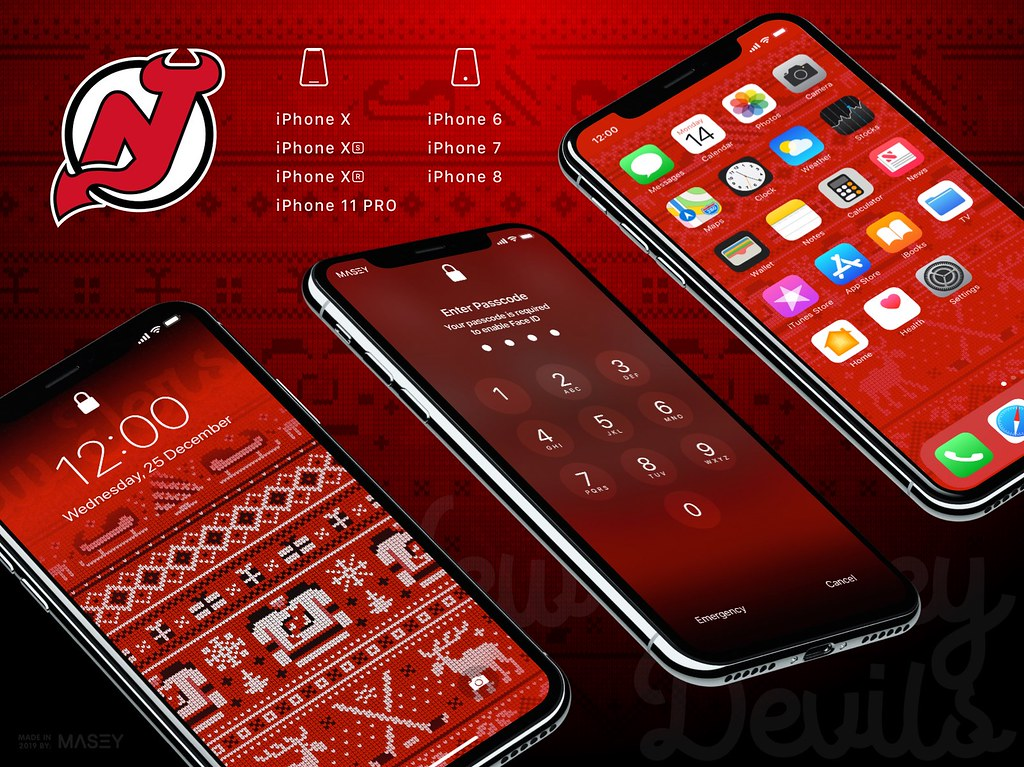 "New Jersey Devils Christmas ""Ugly Sweater"" iPhone Wallpaper"