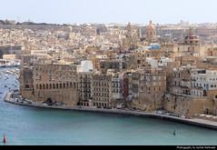 Senglea seen from Upper Barrakka Gardens, Valletta, Malta