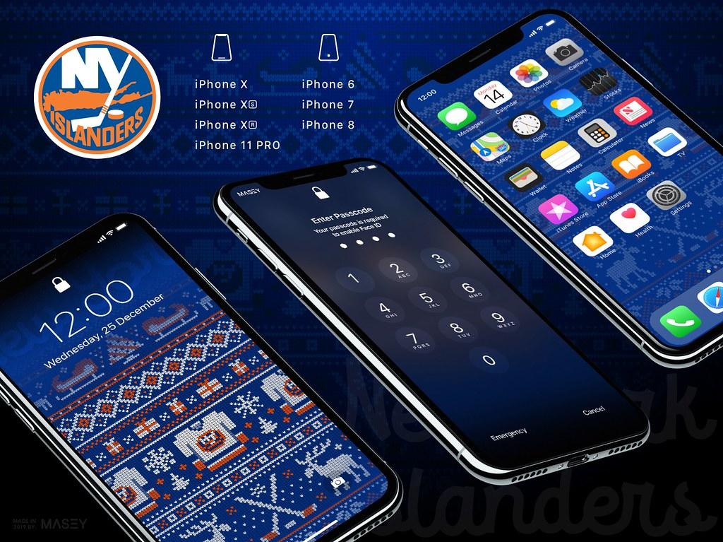"New York Islanders Christmas ""Ugly Sweater"" iPhone Wallpaper"