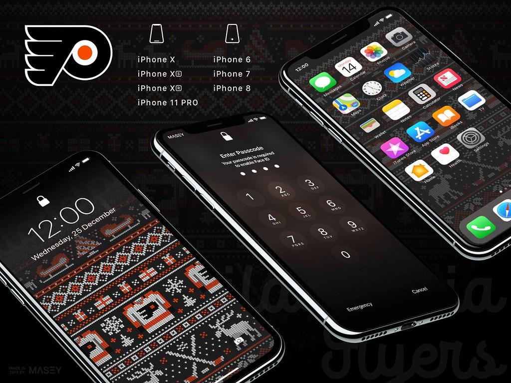 """Philadelphia Flyers Christmas """"Ugly Sweater"""" iPhone Wallpaper"""