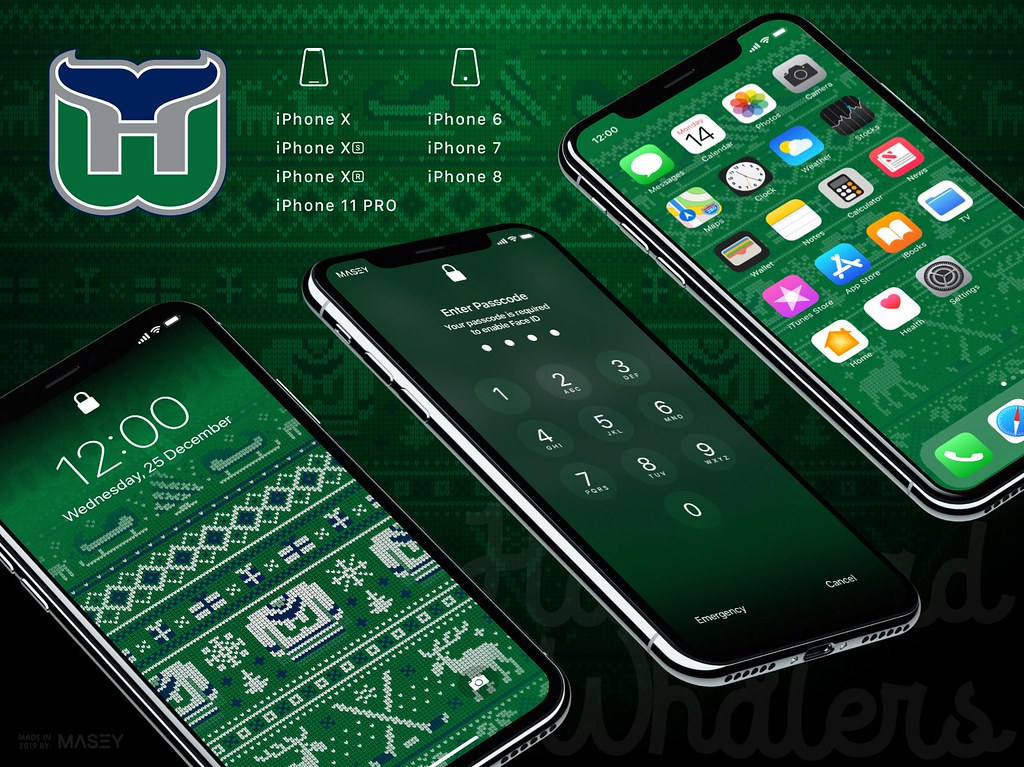 "Hartford Whalers Christmas ""Ugly Sweater"" iPhone Wallpaper"