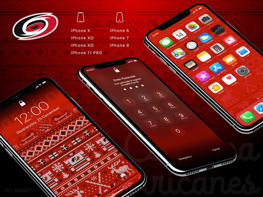 "Carolina Hurricanes Christmas ""Ugly Sweater"" iPhone Wallpaper"