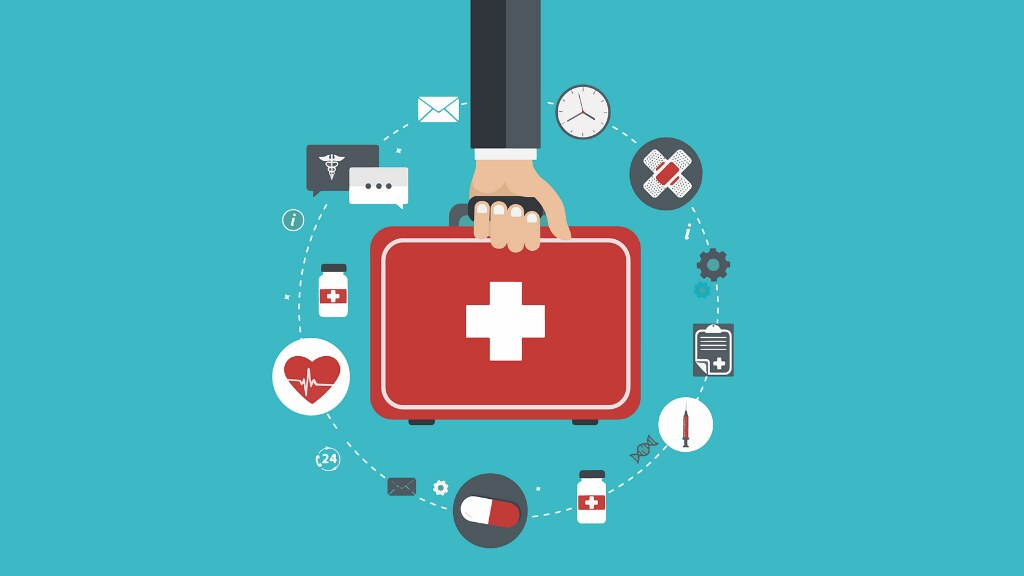 A graphic of a hand holding a suitcase surrounded by healthcare symbols
