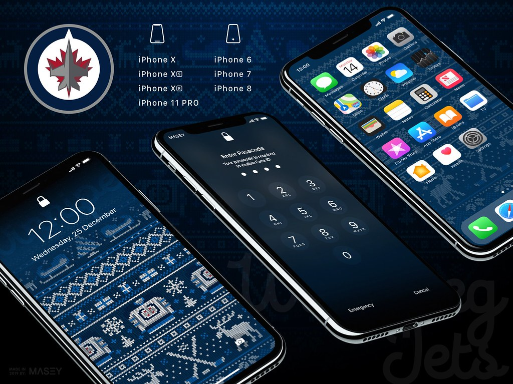 "Winnipeg Jets Christmas ""Ugly Sweater"" iPhone Wallpaper"